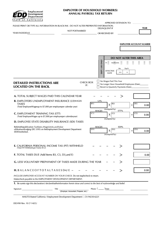 Fillable Form De 3hw - Employer Of Household Worker(S) Annual Payroll Tax Return Printable pdf