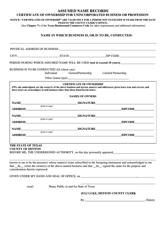 Fillable Certificate Of Ownership For Unincorporated Business Or