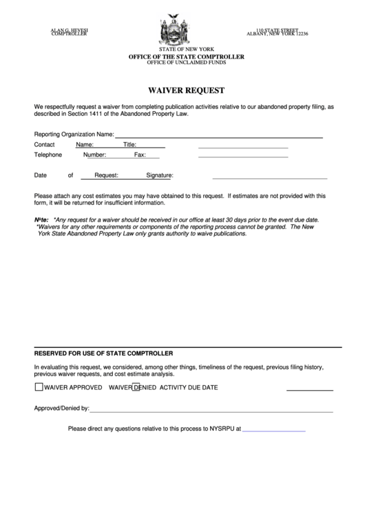 Waiver Request Form | Waiver Request Form Printable Pdf Download