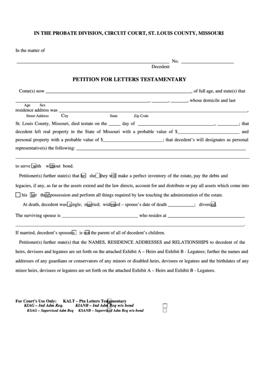 fillable petition for letters testamentary form printable pdf