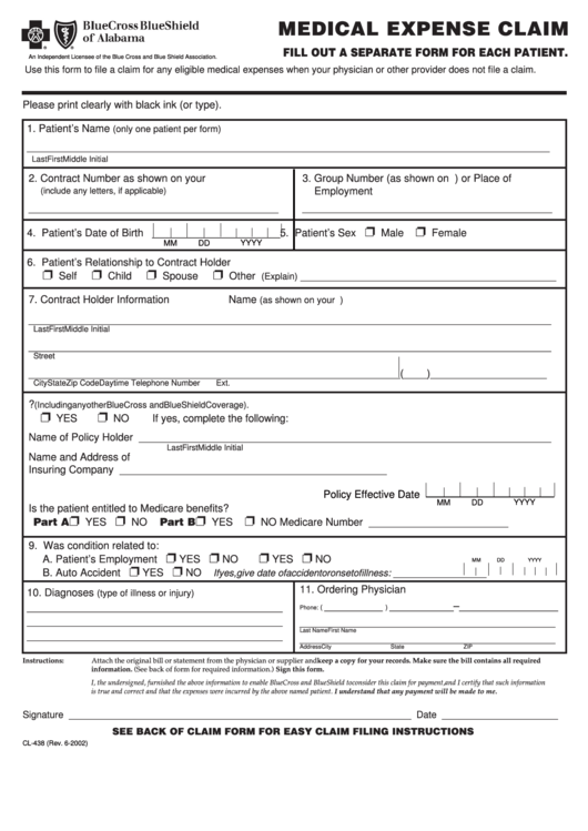 Form Cl-438 - Medical Expense Claim - Bluecross Blueshield ...