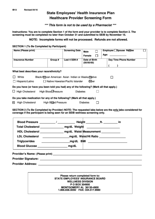 Fillable Healthcare Provider Screening Form - State ...