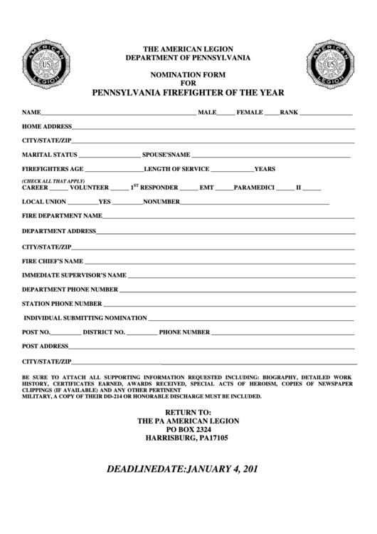 Fillable Firefighter Of The Year Award Nomination Form