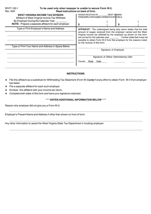 Form Wv/it-102-1 - Affidavit Of Income Tax Withheld By Employer