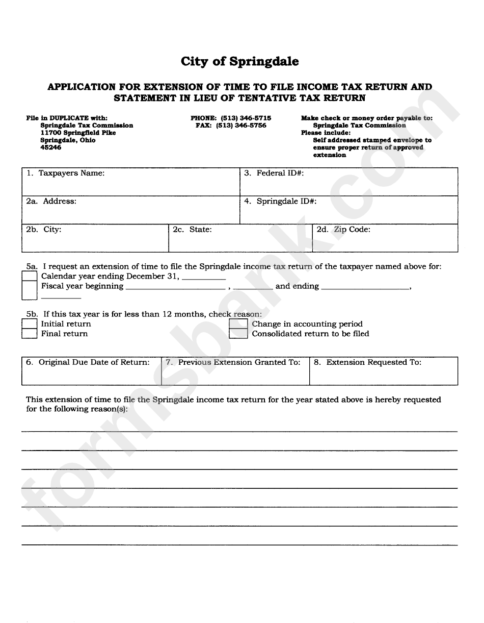 Application Form For Extension Of Time To File Income Tax Return And Statement In Liieu Of Tentative Tax Return - Springdale Tax Comission