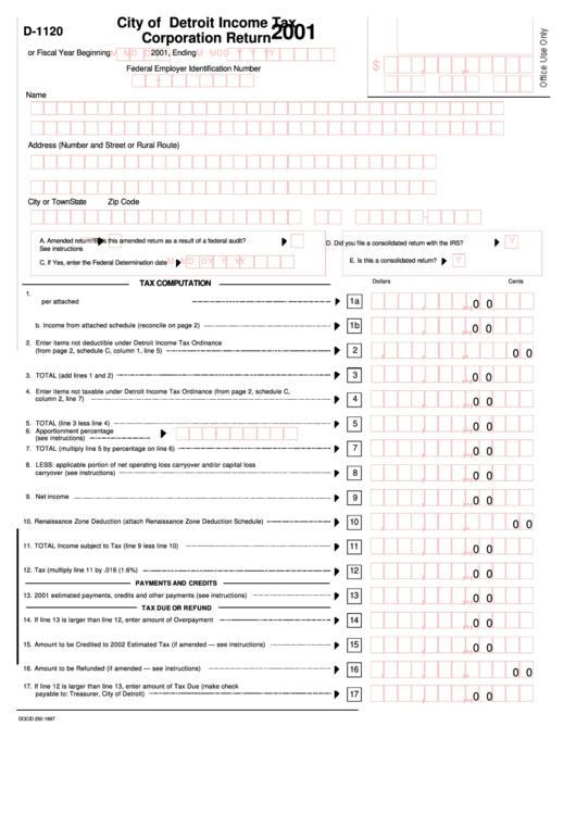 Form D-1120 - City Of Detroit Income Tax Corporation Return Form ...