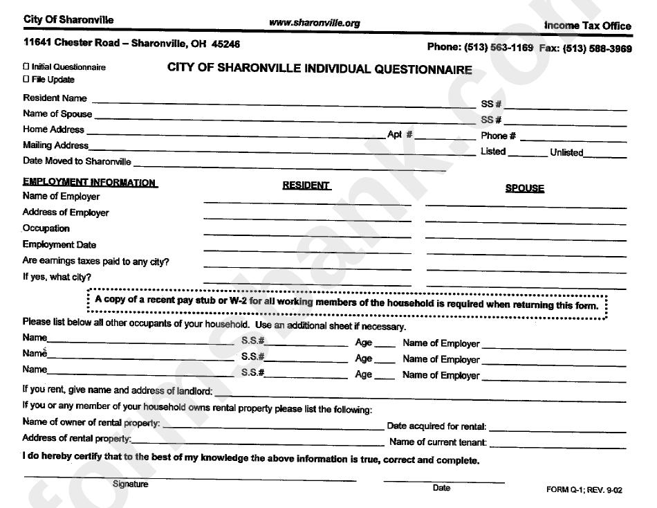 Form Q-1 - Individual Questionnaire
