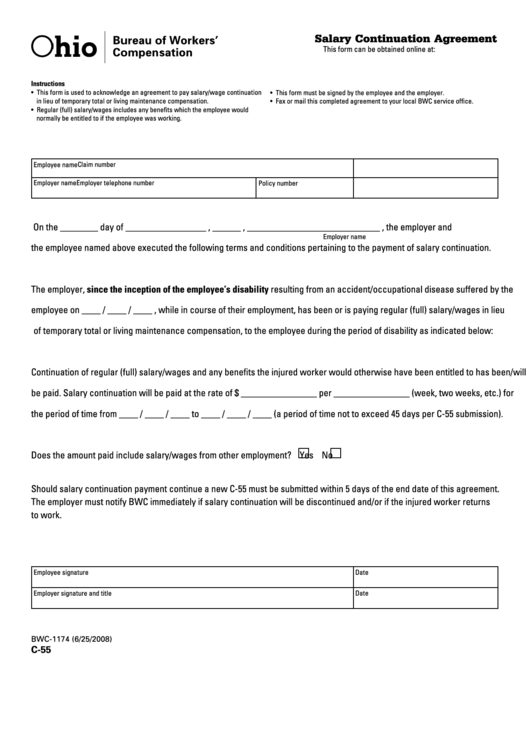 Form C 55 Salary Continuation Agreement Printable Pdf Download
