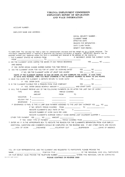 Employer's Report Of Separation And Wage Information Form
