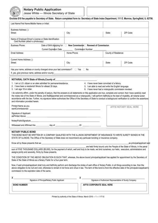 Notary Public Application Form - Illinois Secretary Of State