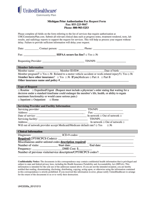 Top 21 United Healthcare Prior Authorization Form Templates free ...
