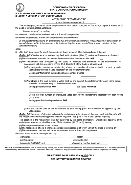 Form Scc711 - Guide For Articles Of Restatement Of A Virginia Stock Corporation