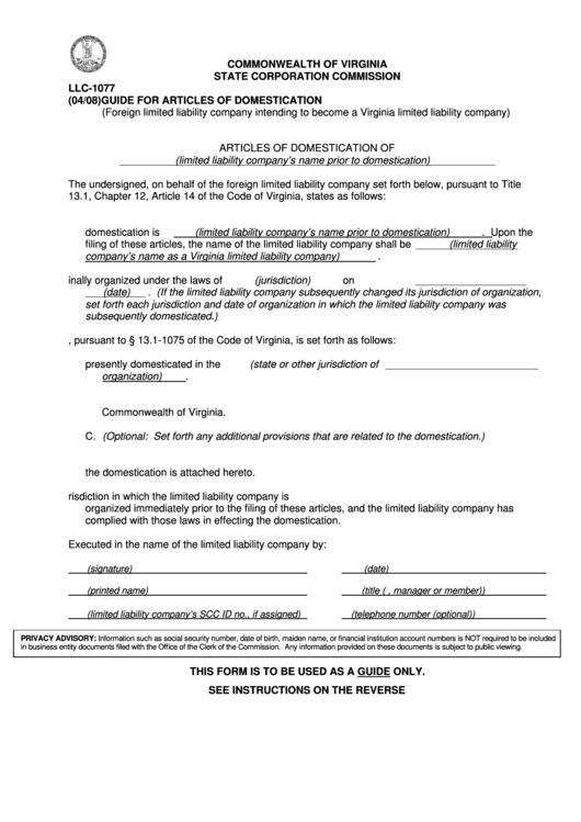 Form Llc-1077 - Guide For Articles Of Domestication