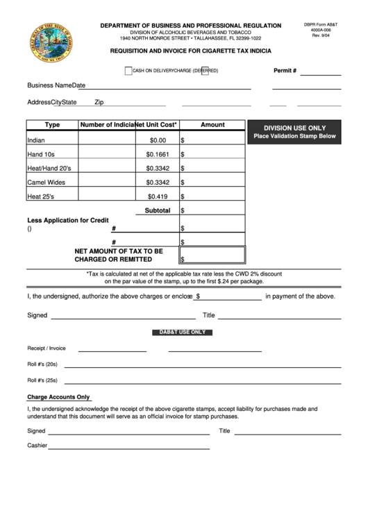 Dbpr Form Ab&t 4000a-006 - Requisition And Invoice For Cigarette Tax Indicia