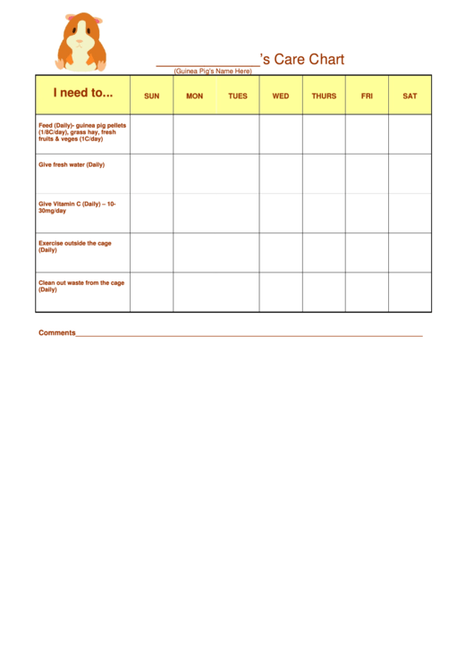guinea pig care chart printable pdf download