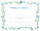 World's Best Certificate Template
