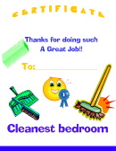 Cleanest Bedroom Certificate Template