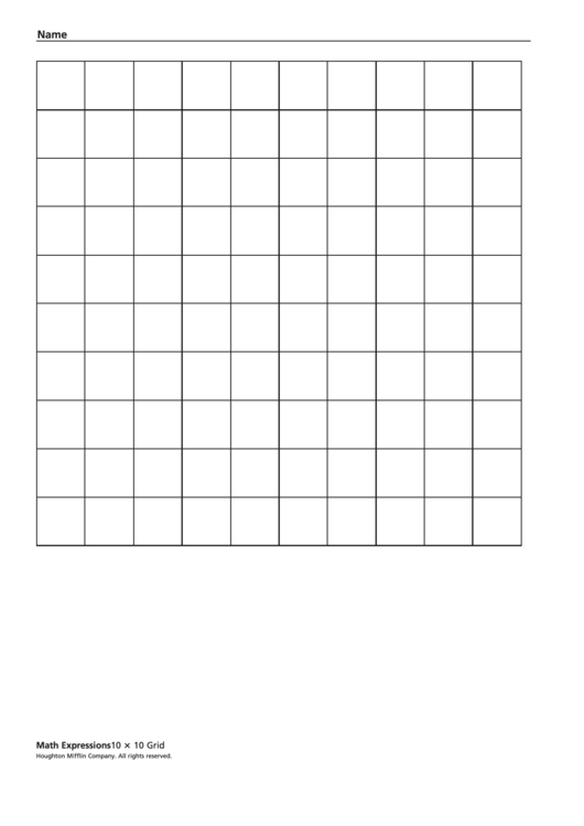 10 X 10 Grid Template Printable Pdf Download