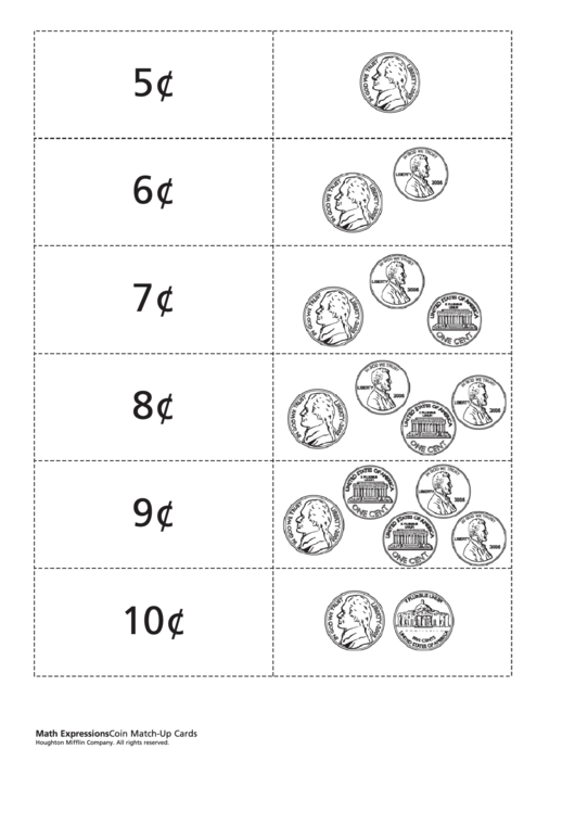 Coin Match-Up Cards Template Printable pdf