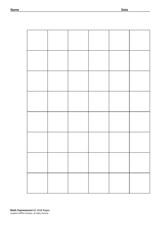 Inch Grid Paper Worksheet Printable pdf
