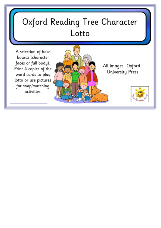 Oxford Reading Tree Character Lotto Template