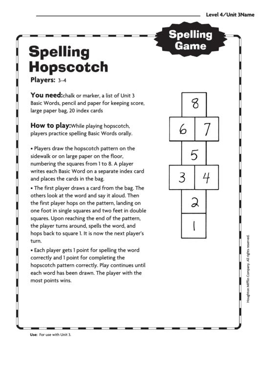 Spelling Hopscotch Template