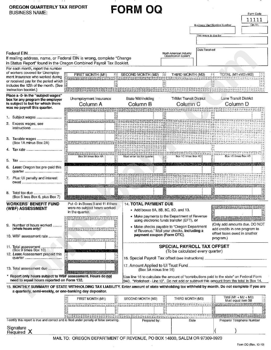 Form Oq - Oregon Quarterly Tax Report printable pdf download