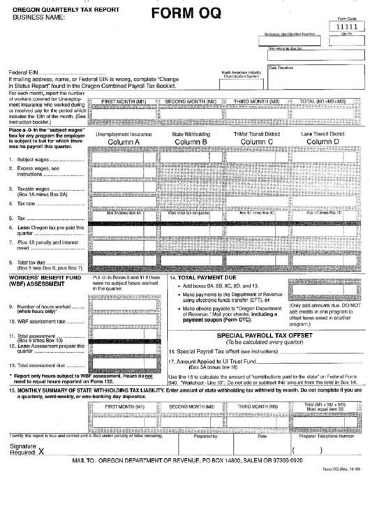 form oq oregon quarterly tax report printable pdf download. Black Bedroom Furniture Sets. Home Design Ideas
