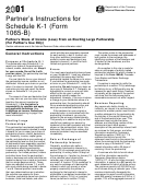 Form 1065-b - Partner's Instructions For Schedule K-1 2001