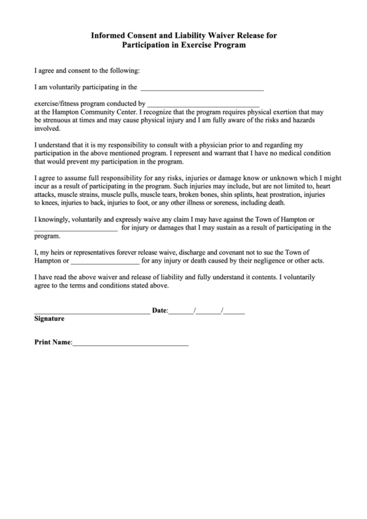 fitness waiver and release form template - informed consent and liability waiver release for