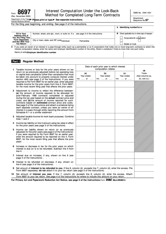Fillable Form 8697 - Interest Computation Under The Look-Back Method For Completed Long-Term Contracts Form - Department Of The Treasury Internal Revenue Service Printable pdf
