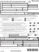 Form Nyc-210 - Claim For New York City School Tax Credit Form - New York State Department Of Taxation And Finance