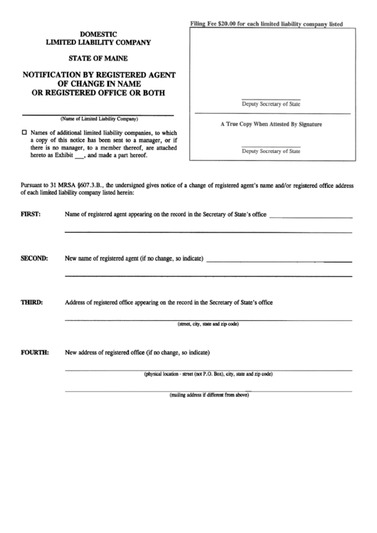 Form For A Notification By Registered Agent Of Change In Name Or Registered Office Or Both - Domestic Llc Printable pdf