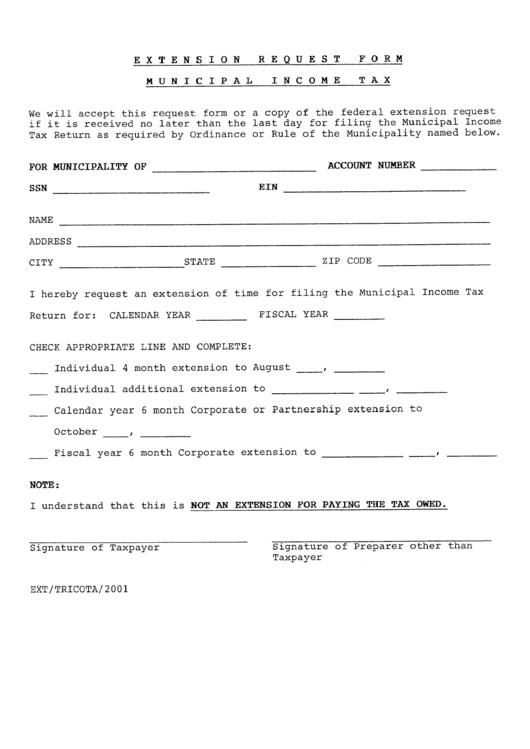 Extension Request Form - Municipal Income Tax Printable pdf