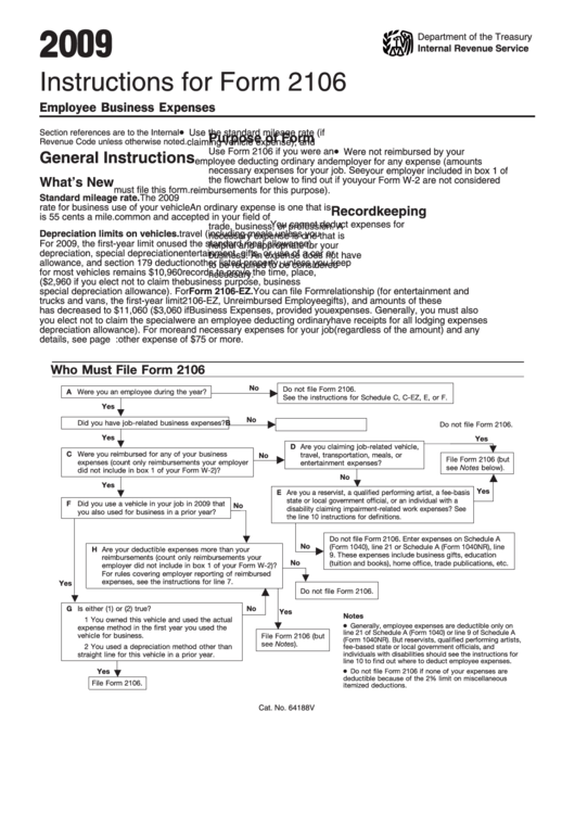 Form 2106 Instructions For Form 2106 Employee Business Expenses ...