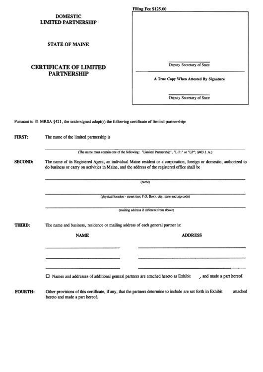 Form Mlpa-6 - Certificate Of Limited Partnership Form - Maine Secretary Of State Printable pdf