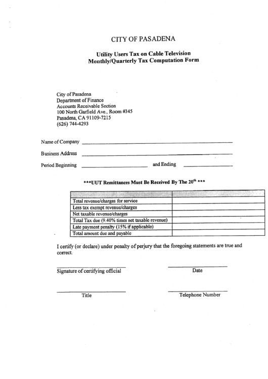 Utility Users Tax On Cable Television Monthly/quarterly Tax Computation Form - City Of Pasadena Department Of Finance