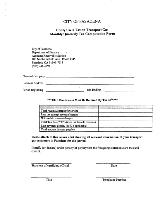 Utility Users Tax On Transport Gas Monthly/quarterly Tax Computation Form - City Of Pasadena Department Of Finance