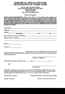 Individual Application For Registratiuon Of Trade Name Form