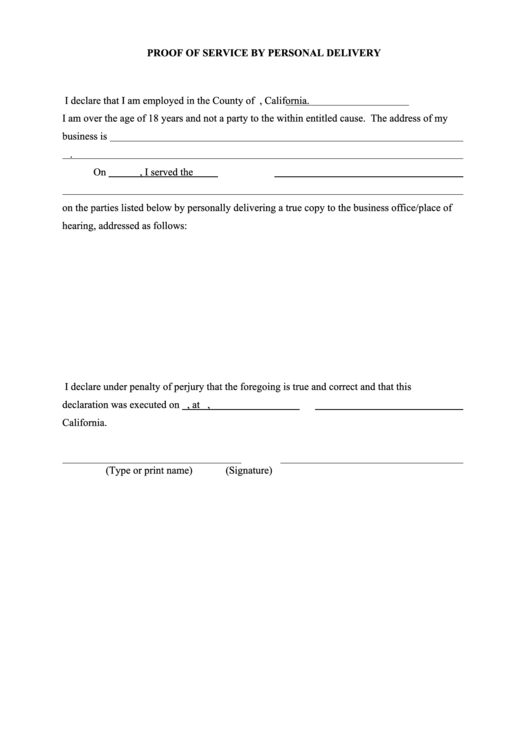 Fillable Proof Form Of Service By Mail - California printable pdf