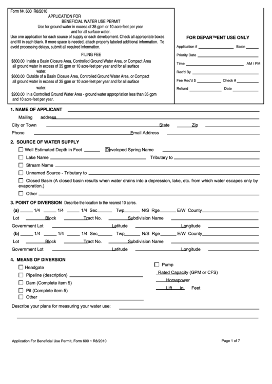 Form 600 - Application For Beneficial Water Use Permit