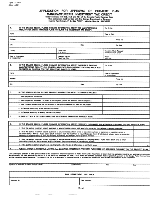 Fillable Form It-App - Application For Approval Of Project Plan Manufacturer