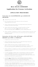 Instructions For Application For License Activation - Application Procedures Form