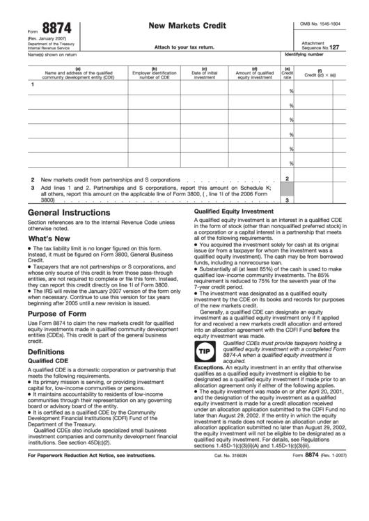 Form 8874 - New Markets Credit - Form