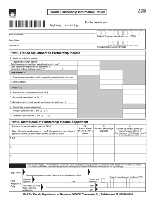 Form F-1065 - Florida Partnership Information Return Printable pdf