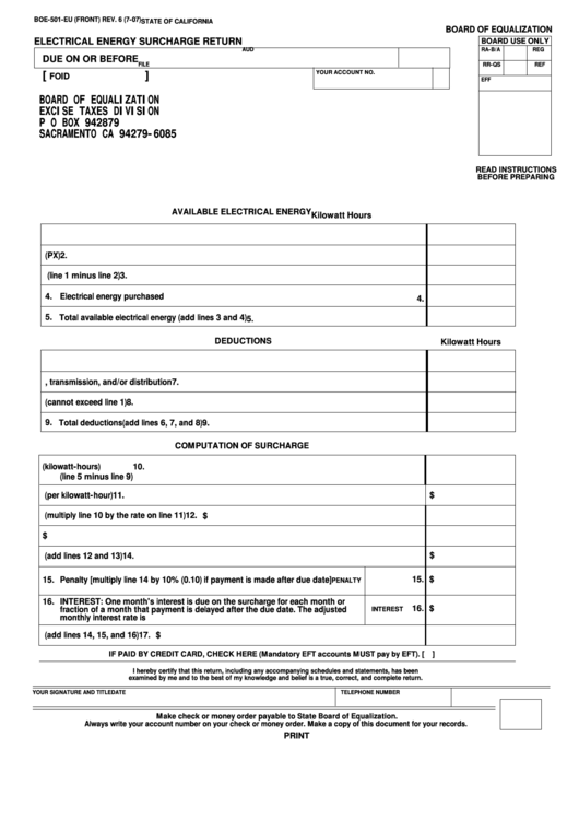 Form Boe-501-eu - Electrical Energy Surcharge Return Form
