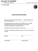 Application For Extension Form - Village Of Ontario - Income Tax Department