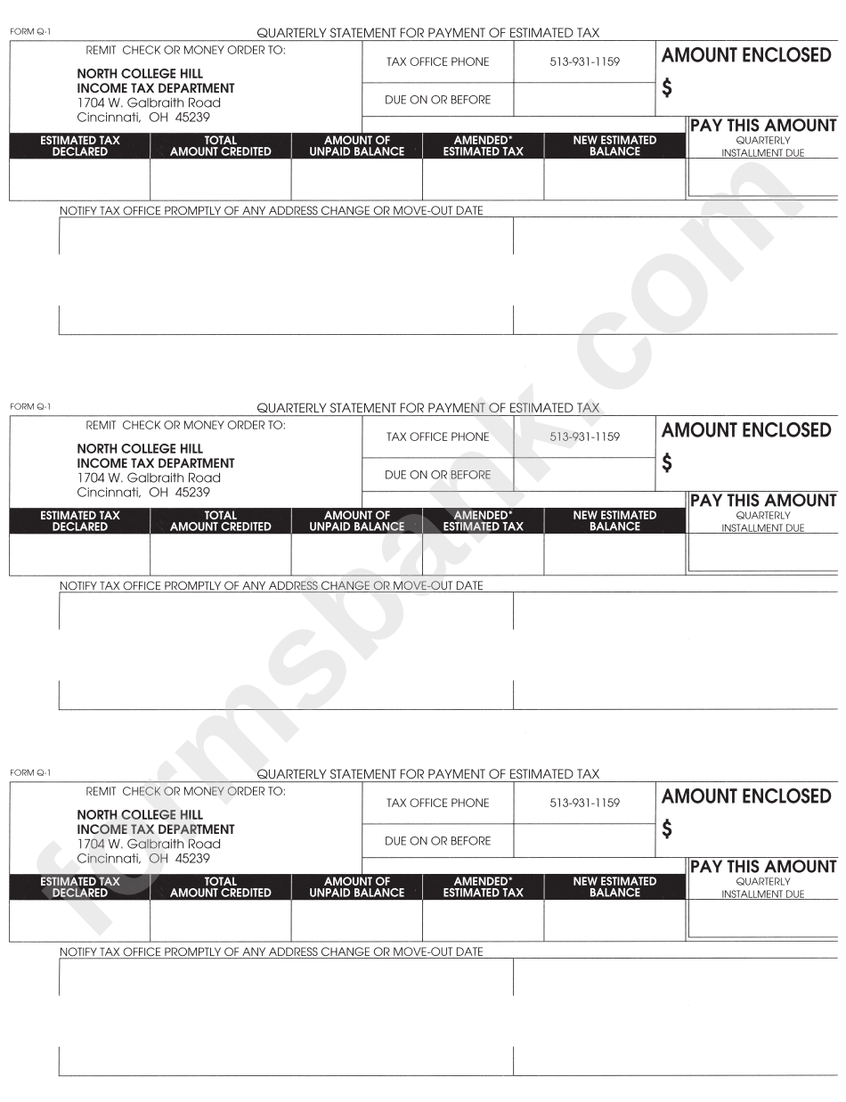 Form Q-1 - Quarterly Statement For Payment Of Estimated Tax ...