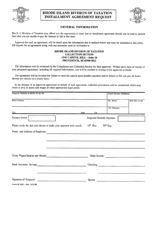Form 9465 Installment Agreement Request Forms Complete Tax Amp ...