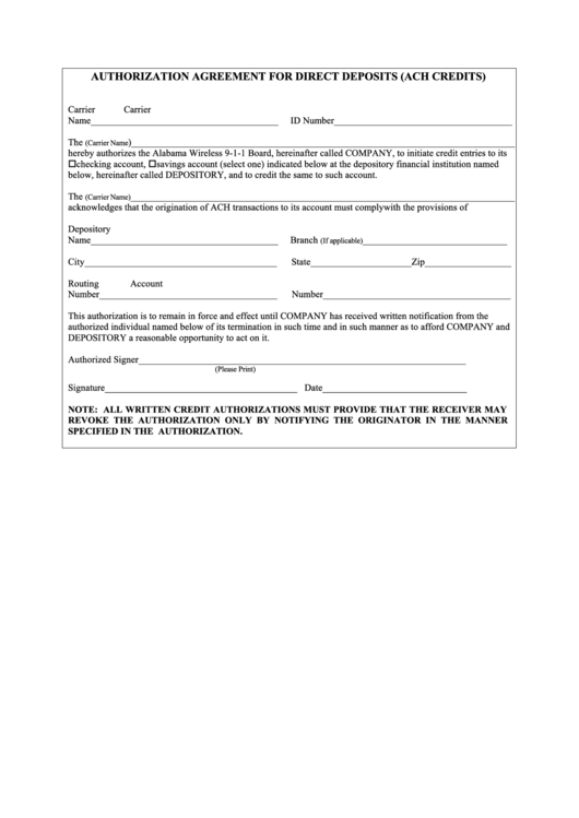 Authorization Agreement Form For Direct Deposits (ach Credits)